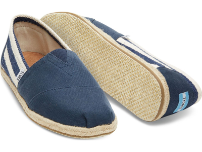 TOMS Stripe University Men's Classic Alpargata Navy