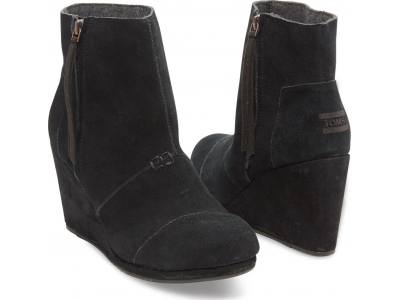 TOMS Suede Women's Desert Wedge High Black