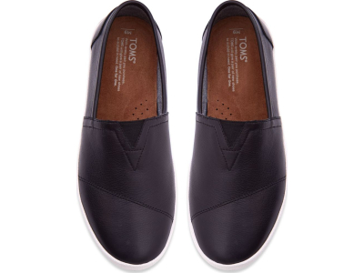 TOMS Full Grain Leather Men's Avalon Sneaker Black