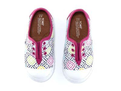 TOMS Canvas Vintage Tiles Kid's Zuma Sneaker Pink