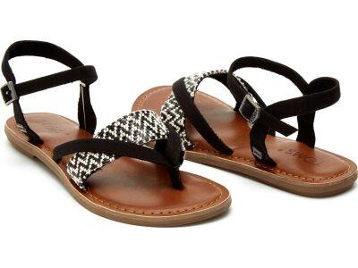 TOMS Woven Women's Lexie Sandal Black/White
