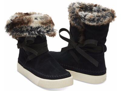 TOMS Suede Faux Fur Women'S Vista Boot Black