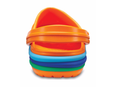 Crocs™ Kids' Crocband Rainbow Band Clog Blazing Orange