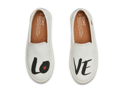 TOMS Love Junior's Luca Slipon White Denim