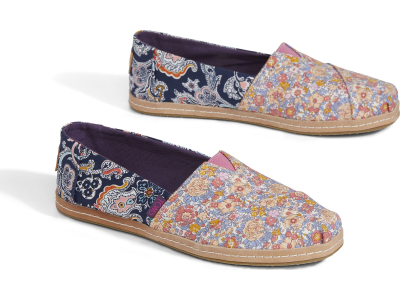 TOMS Floral Linen on Leather Women's Alpargata Navy Mosaic Red
