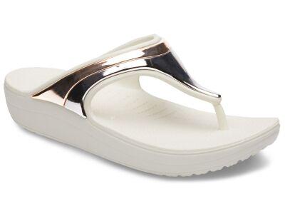 Crocs™ Sloane Metal Block Wedge Flip Multi Rose Gold/Oyster