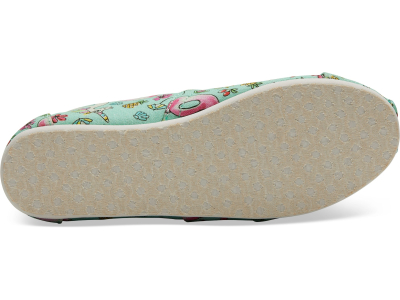 TOMS Poolside Floaties Print Junior's Alpargata Mint