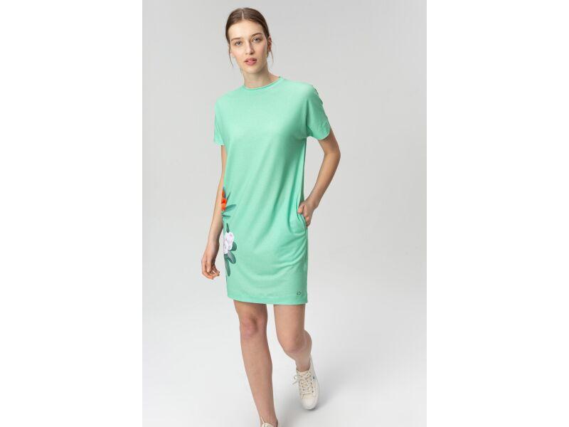 AUDIMAS Trumpa tampri marginta suknelė 20FL-012 Mint Garden