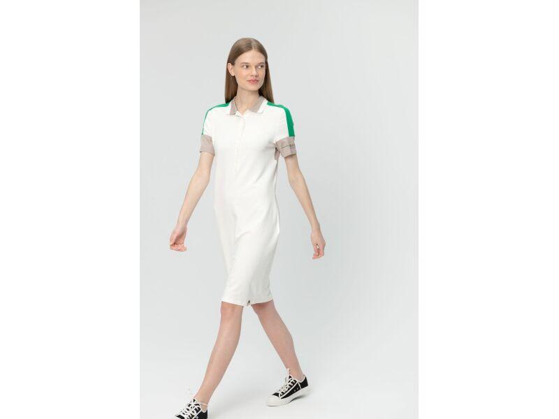 AUDIMAS Švelnaus modalo polo suknelė 20LT-010 Blanc De Blanc
