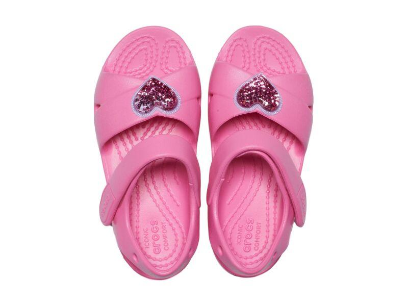 Crocs™ Classic Cross Strap Charm Sandal T Pink Lemonade