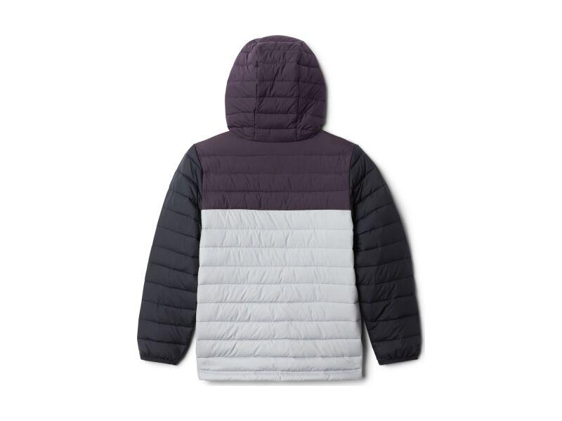 Columbia Powder Lite Boys Hooded Jacket Columbia Grey/Dark Purple/Black