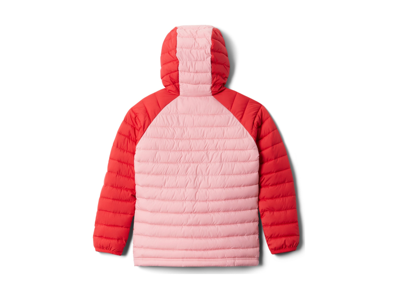 Columbia Powder Lite Girls Hooded Jacket Red Lily/Pink Orchid
