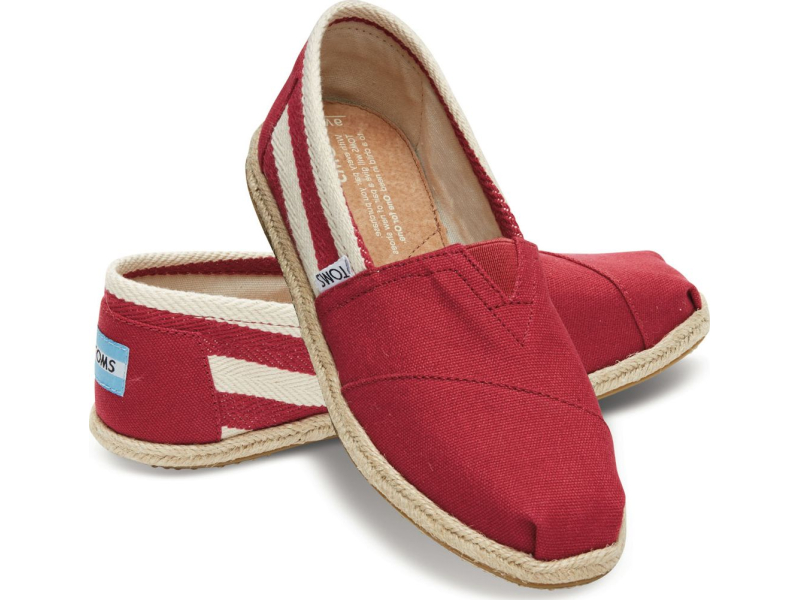 TOMS Stripe University Women's Classic Alpargata Red
