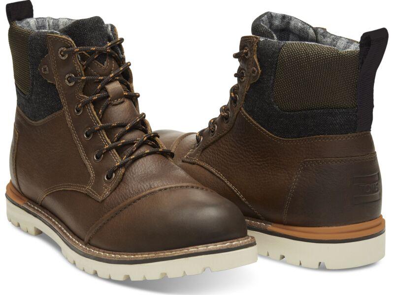 TOMS Leather Herringbone Men's Ashland Brown