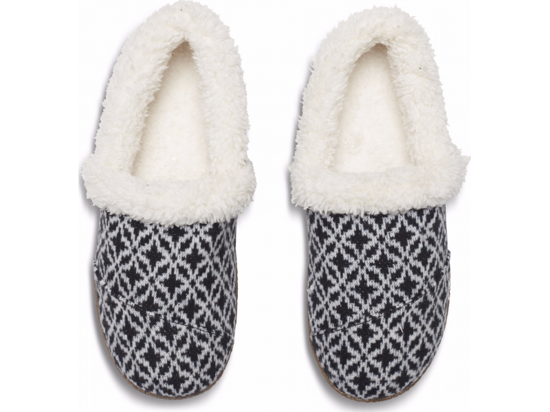 TOMS Fair Isle Woven Women's Slippers Black/White