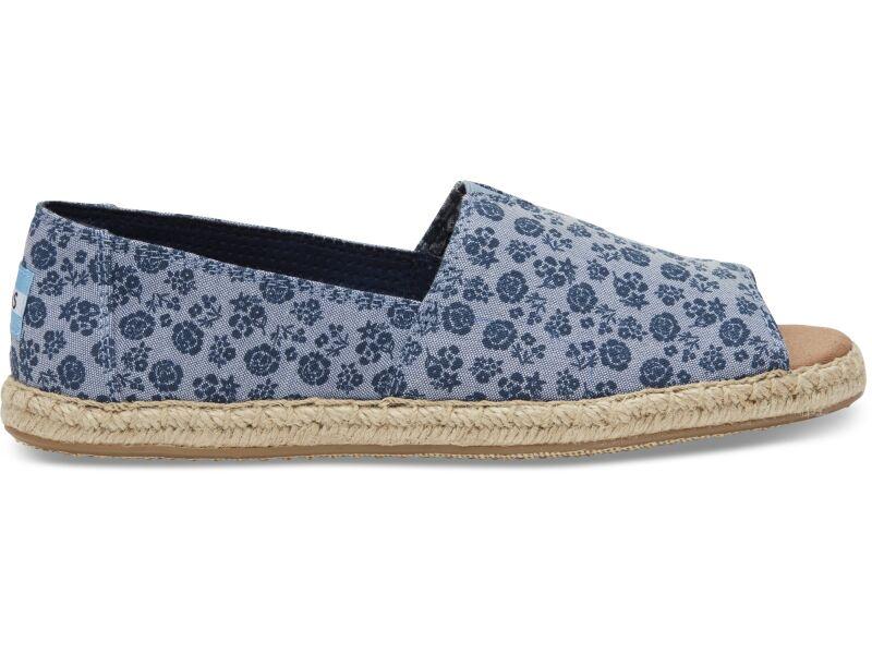 TOMS Ditsy Floral Women's Open Toe Alpargata Blue