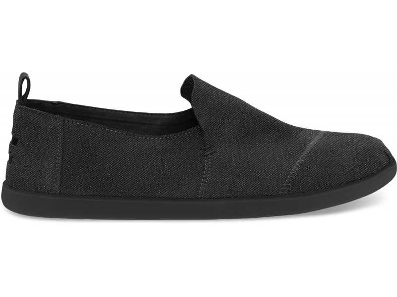 TOMS Denim Men's Deconstructed Alpargata Black/Black