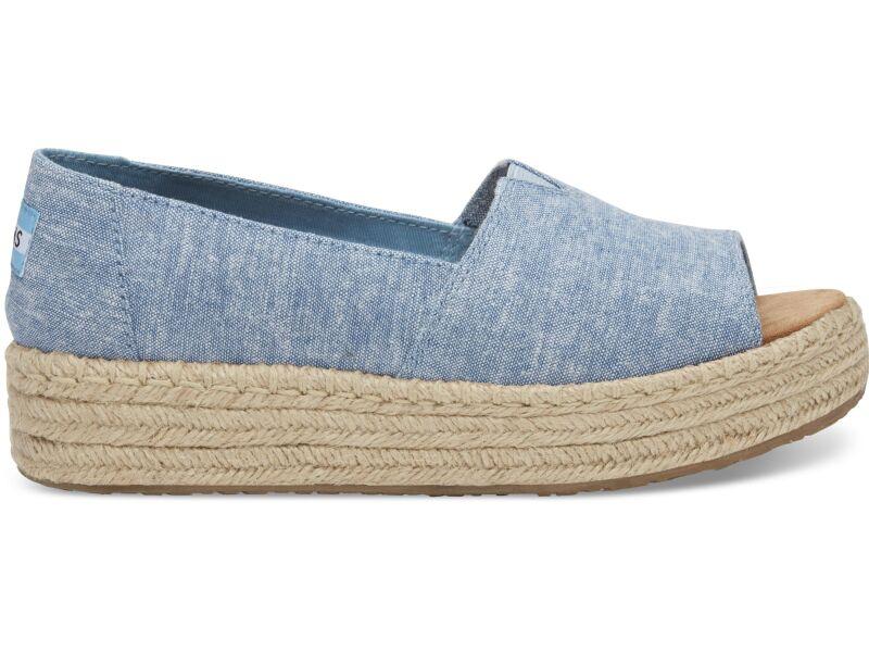 TOMS Chambray Women's Open Toe Platform Alpargata Blue