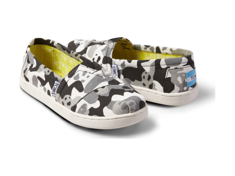 TOMS Panda Camo Junior's Alpargata Black Multi