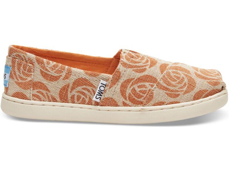 TOMS Emc Burlap Junior's Alpargata Orange Rose