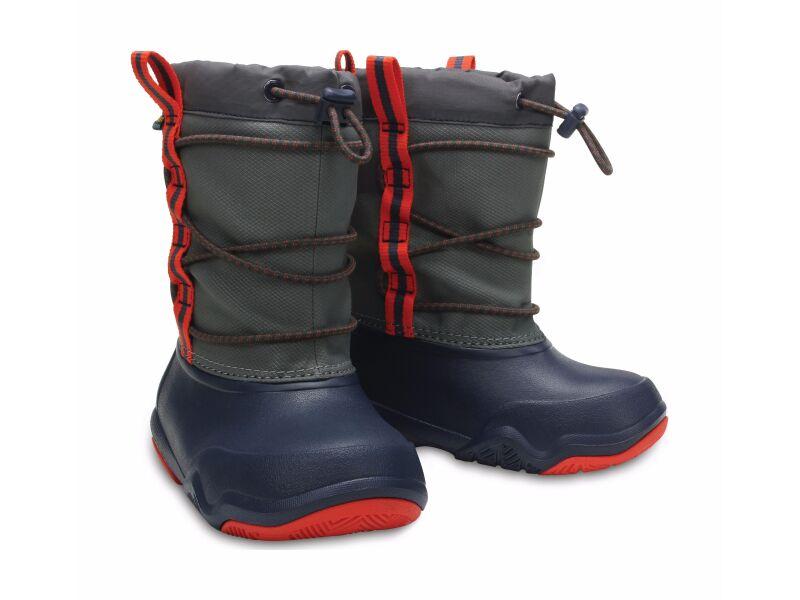 Crocs™ Swiftwater Waterproof Boot Kid's Navy/Flame