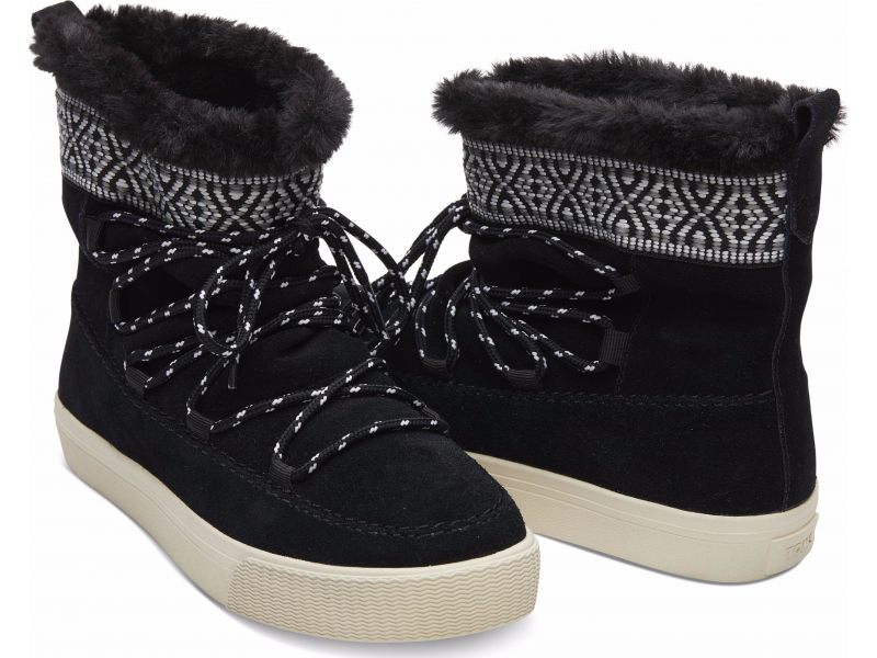TOMS Suede Tribal Webbing Women'S Alpine Boot Black