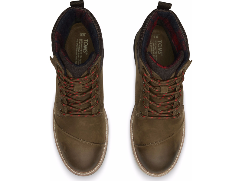 TOMS Burnished Leather Wool Men's Ashland Boot Brown