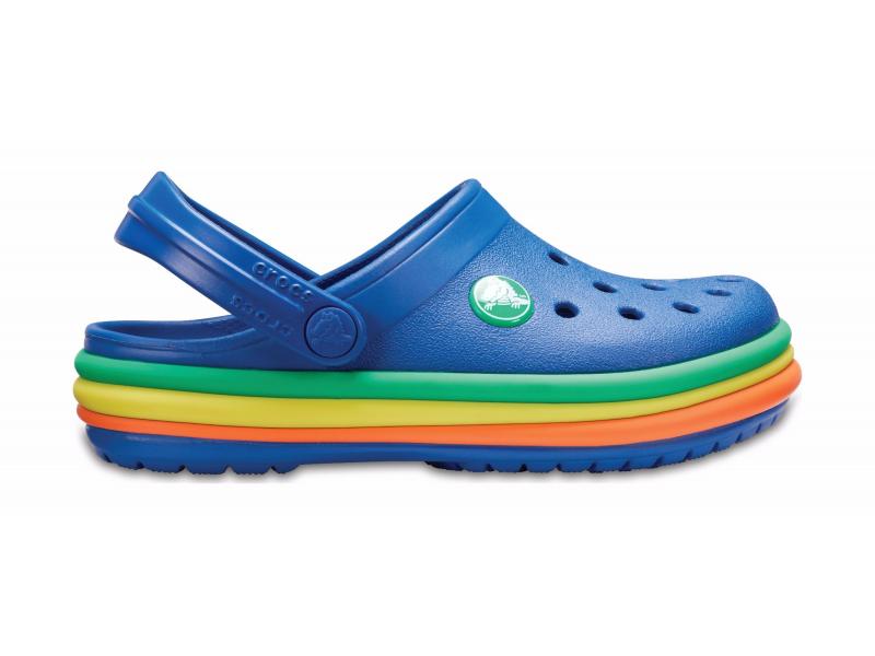 Crocs™ Kids' Crocband Rainbow Band Clog Blue Jean