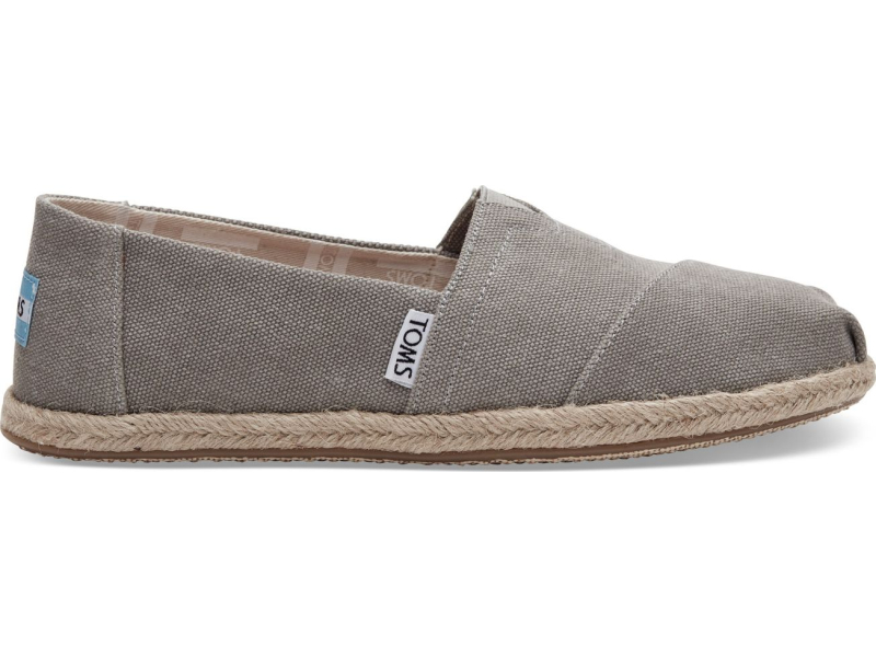 TOMS Washed Canvas Rope Sole Women's Alpargata Drizzle Grey