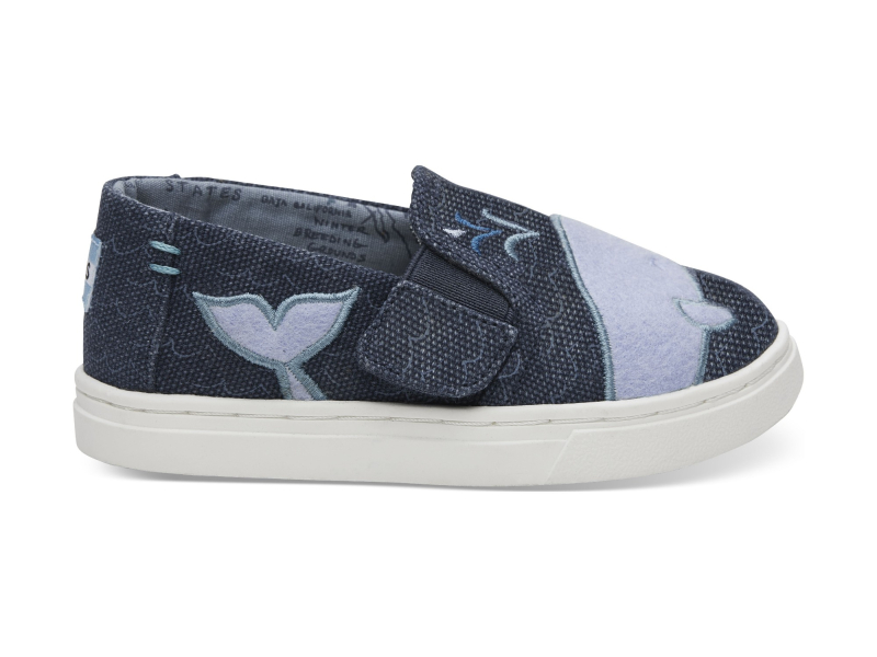 TOMS Whale Patch Kid's Luca Slipon Blue