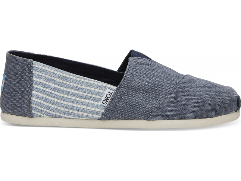 TOMS Coated Linen Stripe Men's Alpargata Deep Ocean