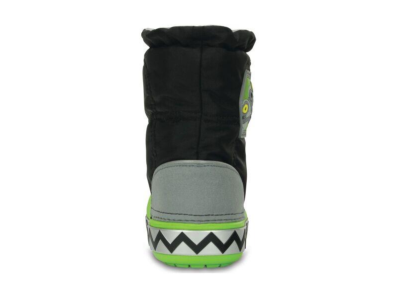 Crocs™ Kids' Light Lodgepoint Robosaur Boot Black/Volt Green