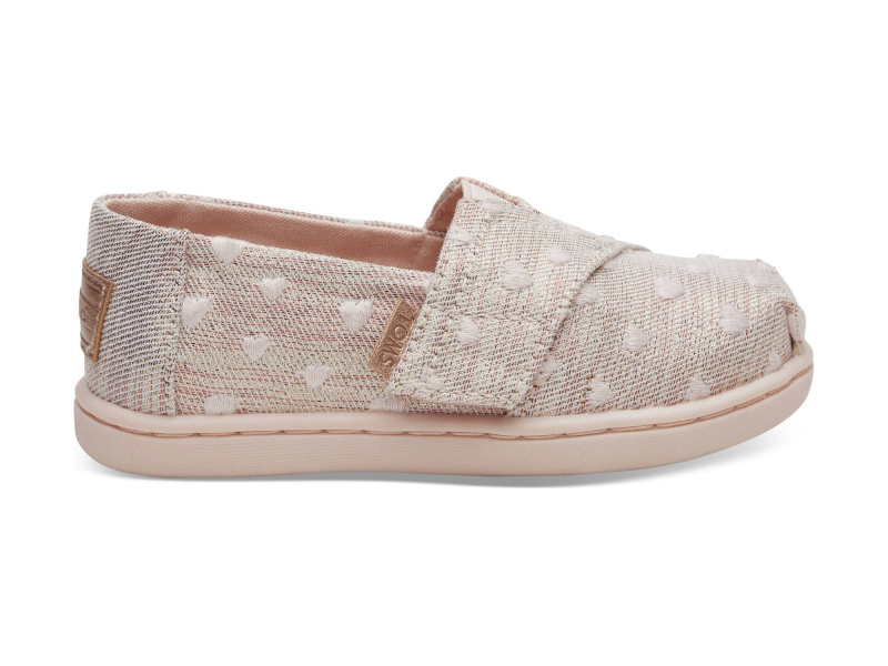 TOMS Twill Glimmer Embroidery Kid's Alpargata Rose Cloud