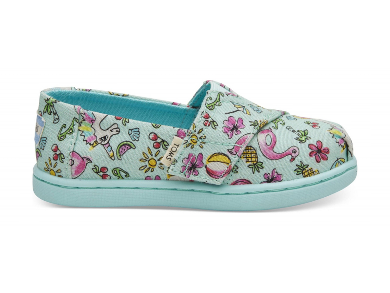 TOMS Poolside Floaties Print Kid's Alpargata Mint