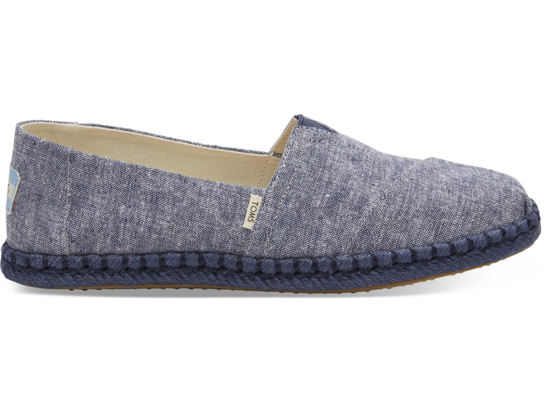 TOMS Chambray on Rope Women's Alpargata Navy