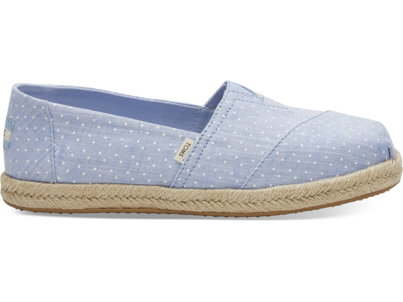 TOMS Chambray Dots on Rope Women's Alpargata Bliss Blue