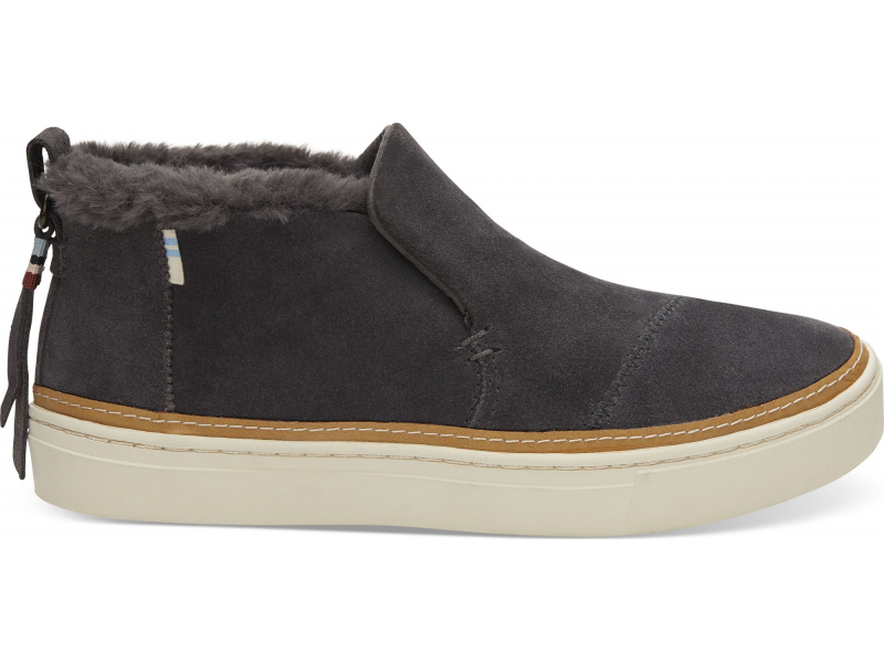 TOMS Suede Faux Fur Women's Paxton Slipon Forged Iron