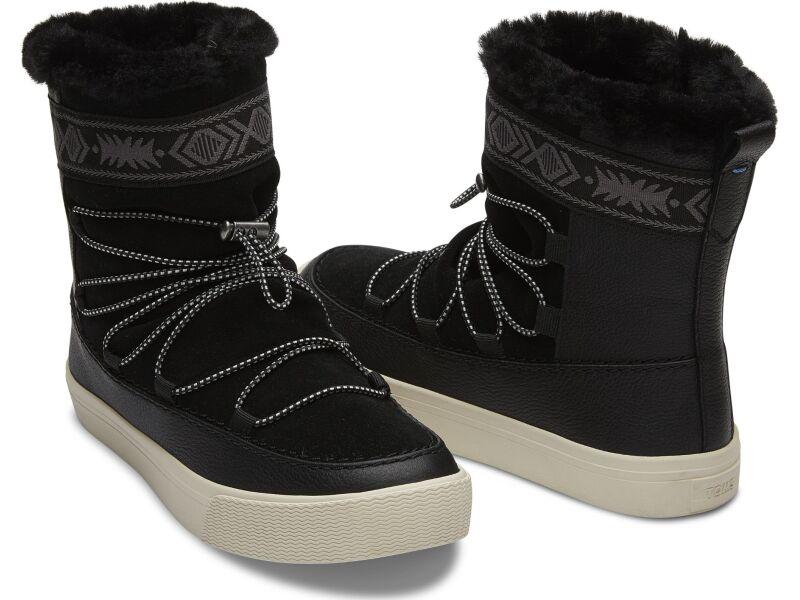 TOMS Leather Suede Faux Fur Women's Alpine Boot Black