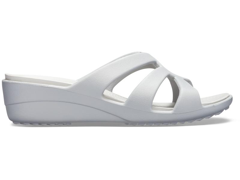 Crocs™ Sanrah Strappy Wedge Silver/Pearl White