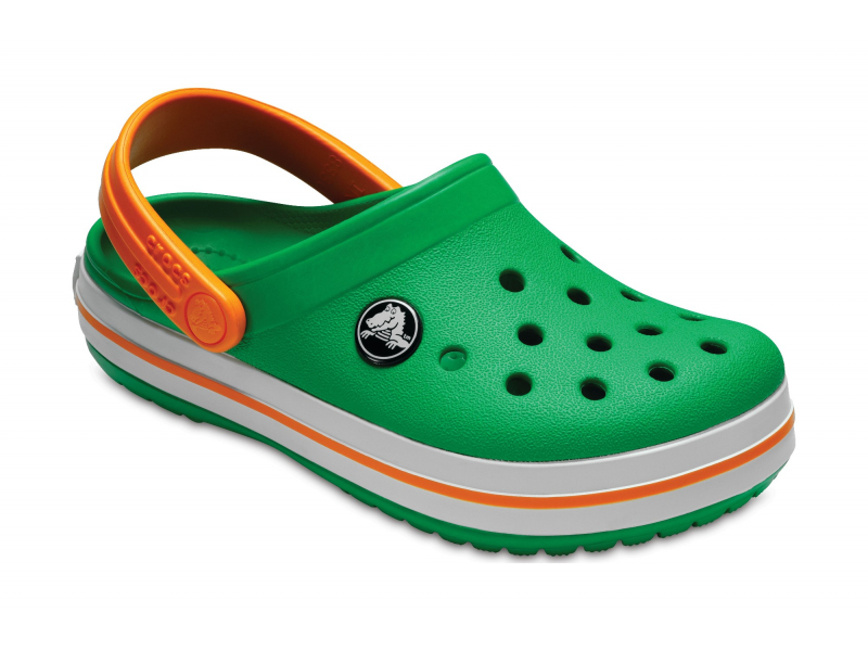 Crocs™ Kids' Crocband Clog Grass Green/White/Blazing Orange