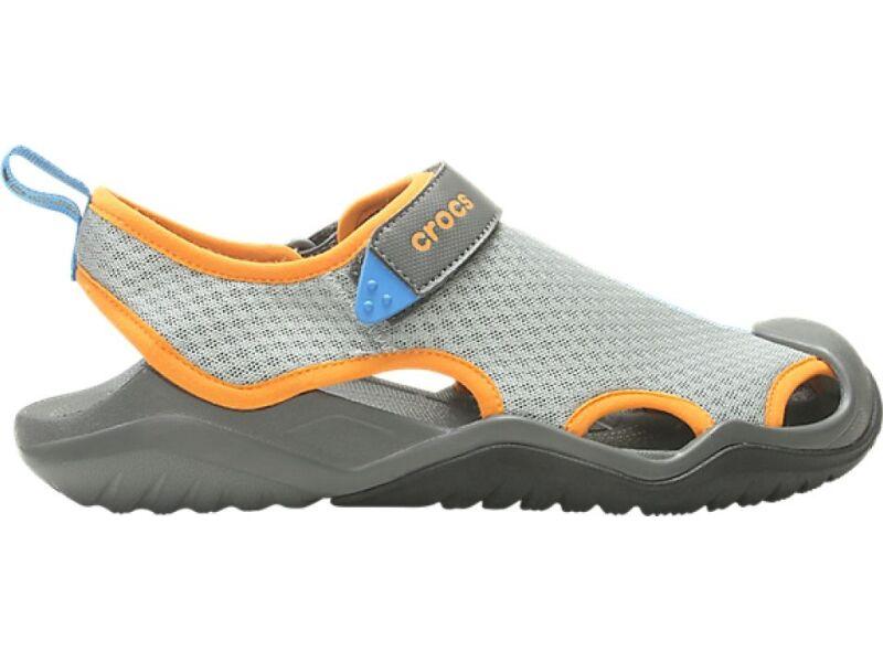 Crocs™ Swiftwater Mesh Deck Sandal Men's Light Grey/Blazing Orange