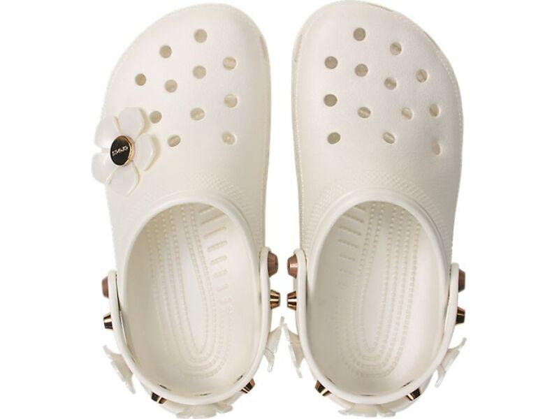 Crocs™ Classic Metallic Blooms Clog Oyster