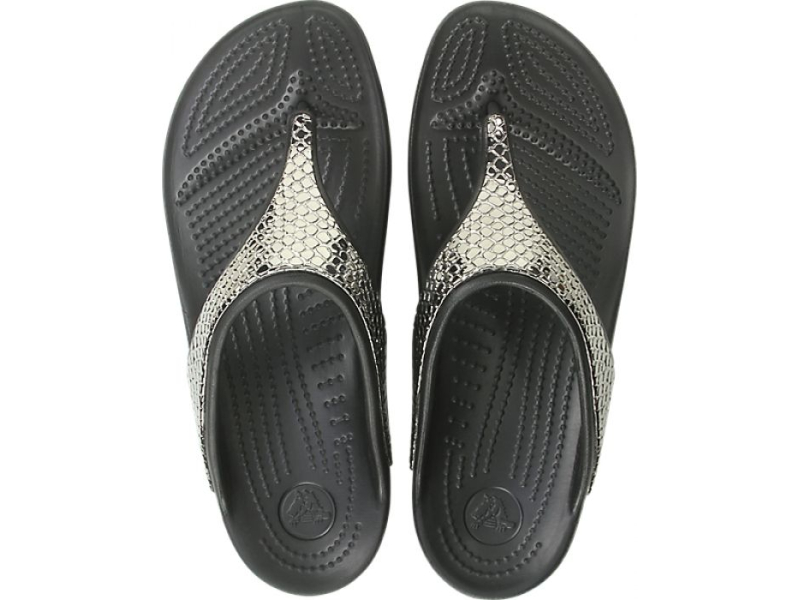 Crocs™ Sloane Metal Txt Flip Women's Gunmetal/Black