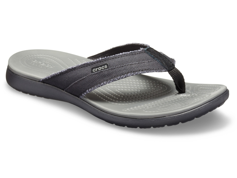 Crocs™ Santa Cruz Canvas Flip Men's Black/Slate Grey