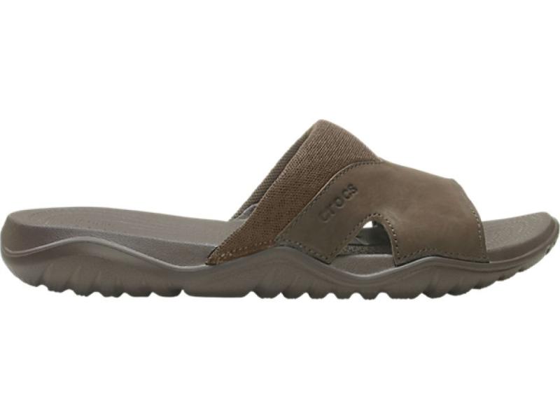 Crocs™ Swiftwater Leather Slide Men's Espresso/Espresso