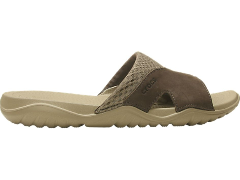 Crocs™ Swiftwater Leather Slide Men's Khaki/Espresso