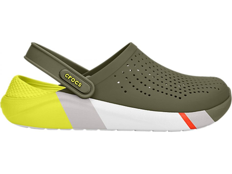 Crocs™ LiteRide Colorblock Clog Army Green/White