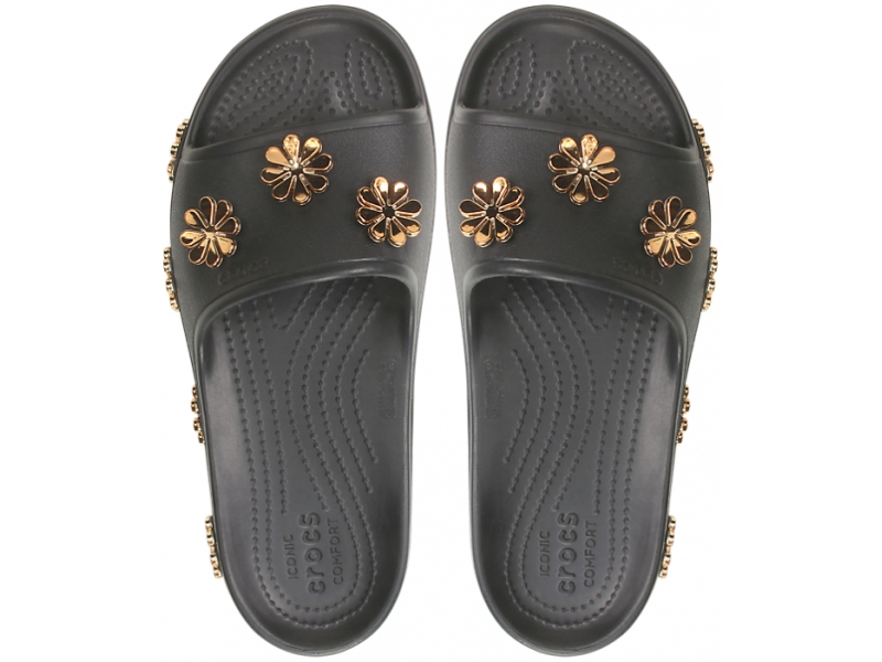 Crocs™ CB Platform Metallic Blooms Slide Black