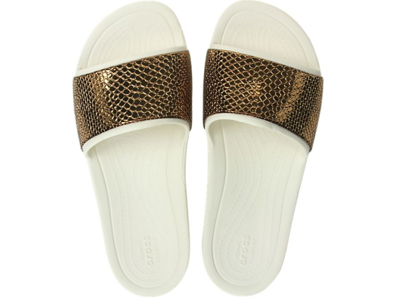 Crocs™ Sloane Metal Text Slide Women's Bronze/Oyster