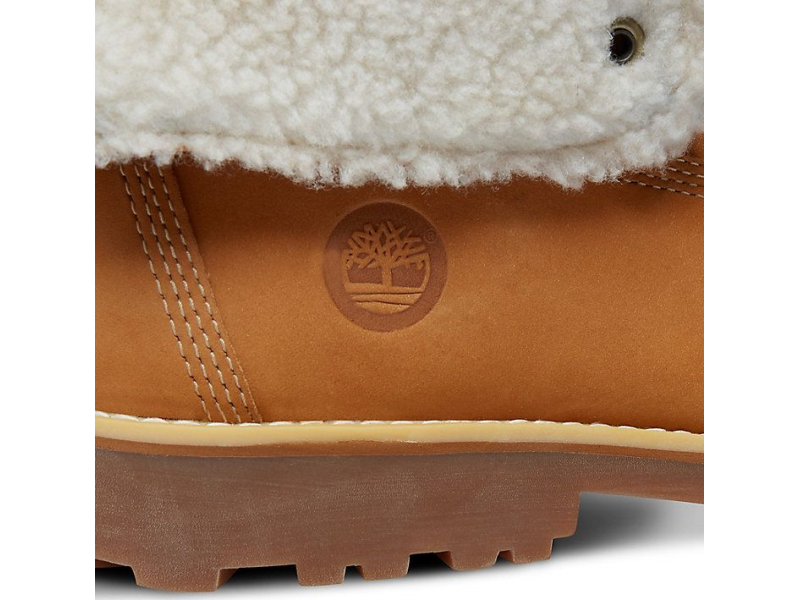 Timberland 6 In Faux Shearling Boot Junior's Wheat Nubuck